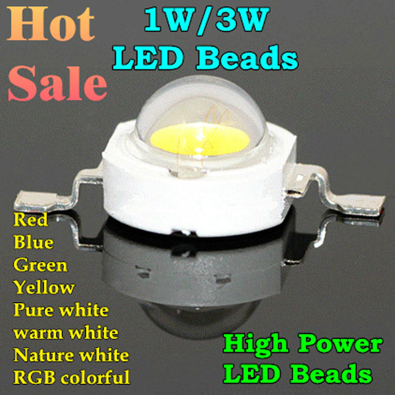 100pcs 1W 3W High Power LED Lamp Bead, 350mA 700mA LED Chip Cold White Natural White Warm White RGB Red Green Blue Yellow цена