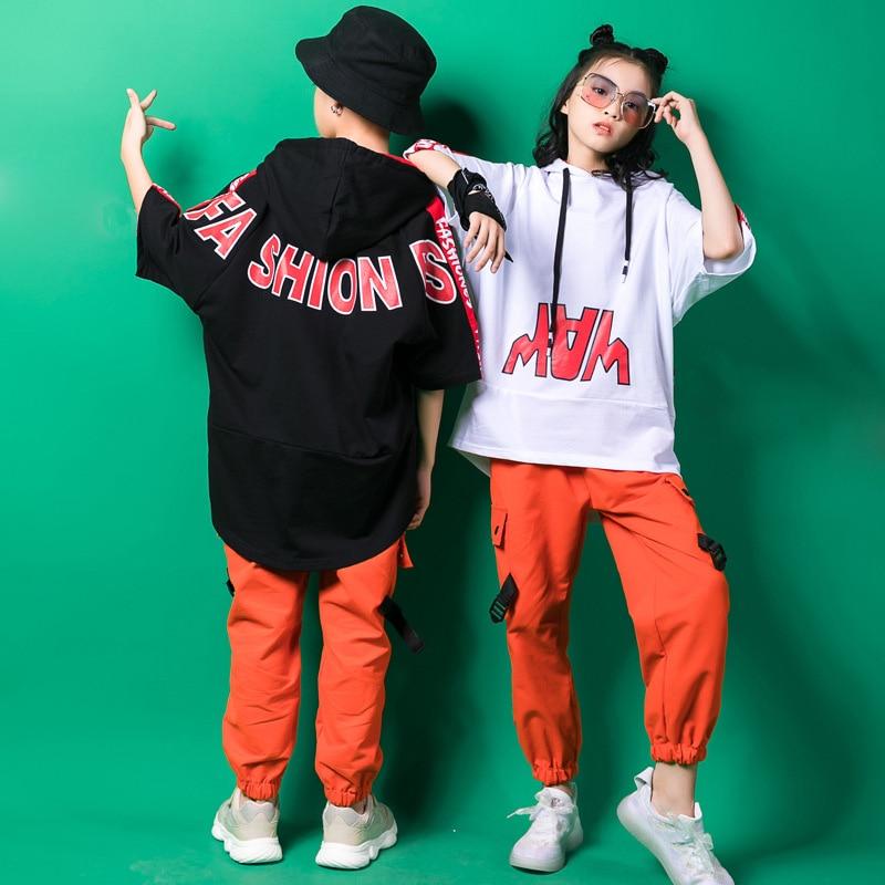 Kid Hip Hop Clothing Hoodie Sweatshirt Shirt Tops Running Casual Pants For Girls Boy Dance Costume Wear Ballroom Dancing Clothes