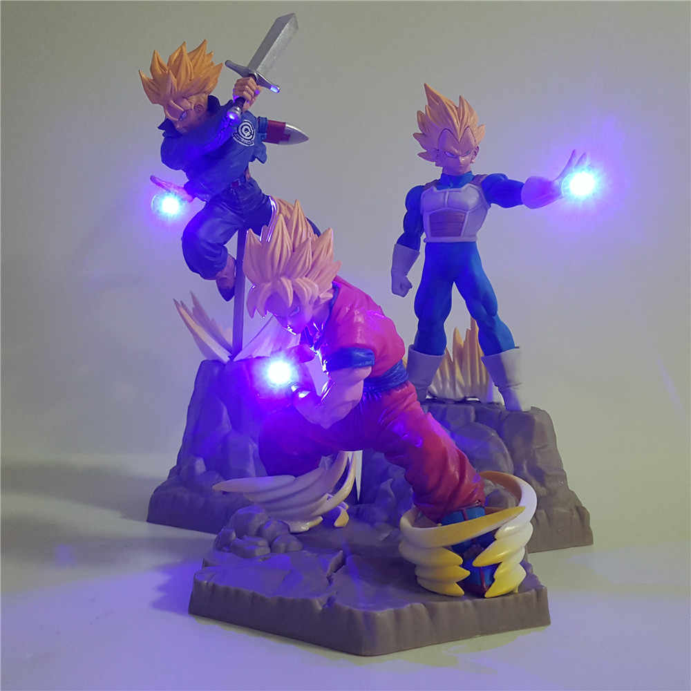 Dragon ball z super saiyan goku vegeta troncos apf led figura de ação brinquedos dragonball super anime son goku vegeta estatueta dbz