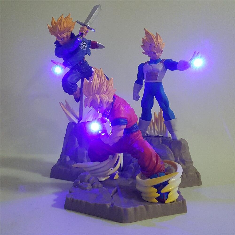 Dragon Ball Z Super Saiyan Goku Vegeta Trunks APF Led Action Figure Toys Dragonball Super Anime Son Goku Vegeta Figurine DBZ