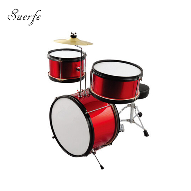 SUERTE High Quality Children Drum Set 3 pcs Drum Red Color Include     SUERTE High Quality Children Drum Set 3 pcs Drum Red Color Include Cymbals  Instrumentos Musicais