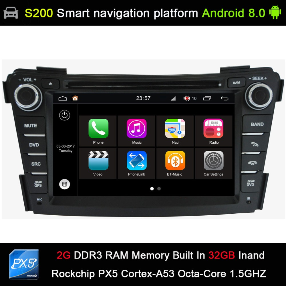 auto Android 8.0 system PX5 Octa 8 Core CPU 2G Ram 32GB Rom Car DVD Radio GPS Navigation for HYUNDAI I40 2011 2014