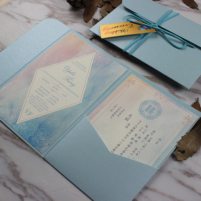 Blue Wedding Invitations Pocket Invitation Cards Customized