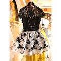 Envío Gratis 2016 Hot Venta de Moda de Verano la Ropa de Las Mujeres Juegos de Falda de la Flor Del Hueco Del Cordón de La Blusa + Organza Estampado floral faldas