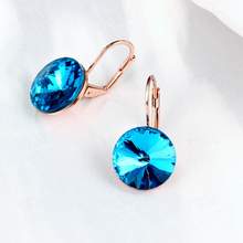 купить Blue Sapphire Clip Diamond Earrings for Women 14K Rose Gold Jewelry Ear Rose Gold Fine Jewelry bijoux en argent brincos perola по цене 841.5 рублей
