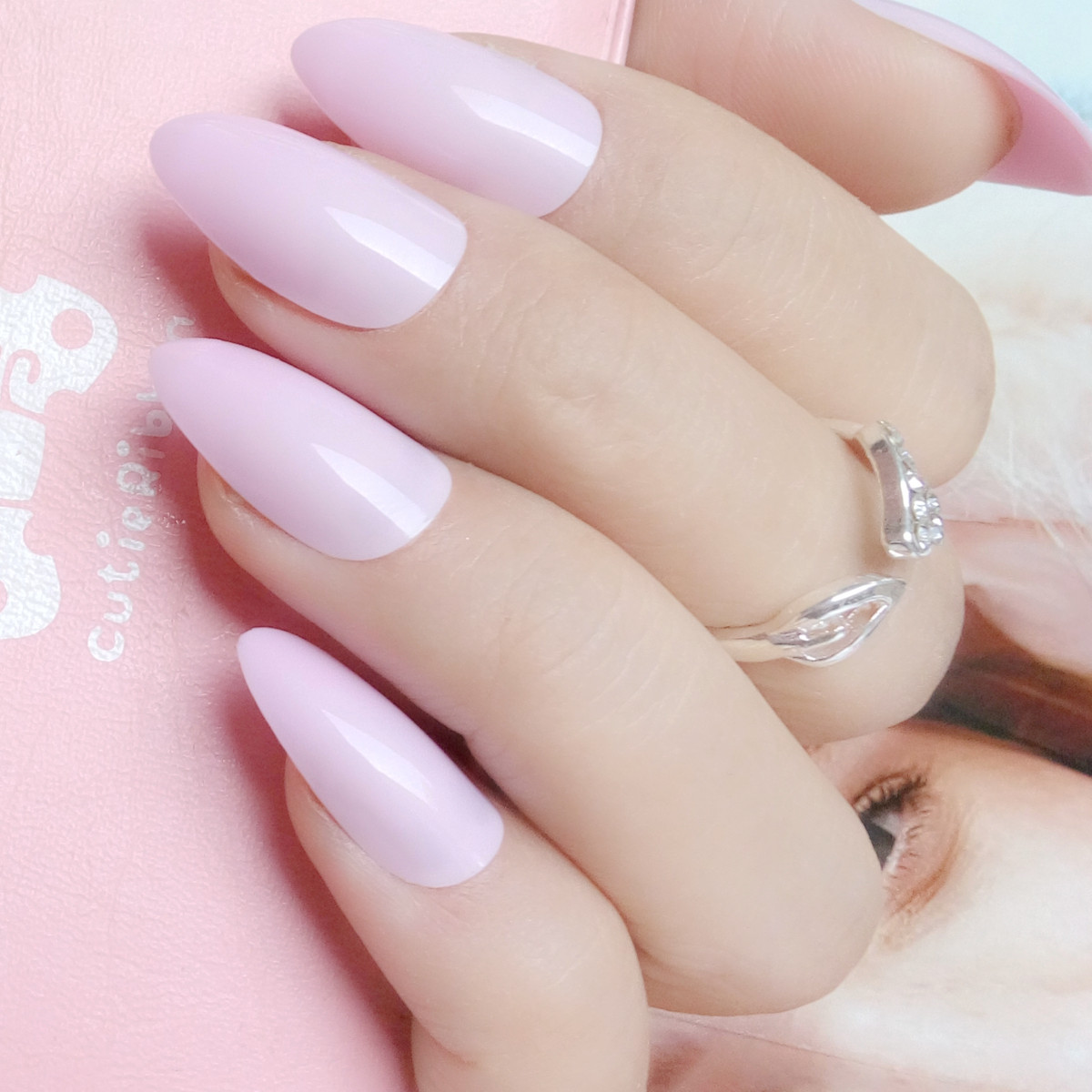 Candy Light Pink Stiletto Nails Tips Short Size Pointed Fake Nails
