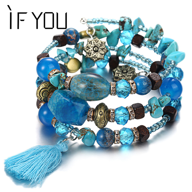Multilayer Bohemian Beads Crystal Charms Bracelets For Women Ethnic Tibet Imitation Natural Stone Bracelets &Bangles Gift