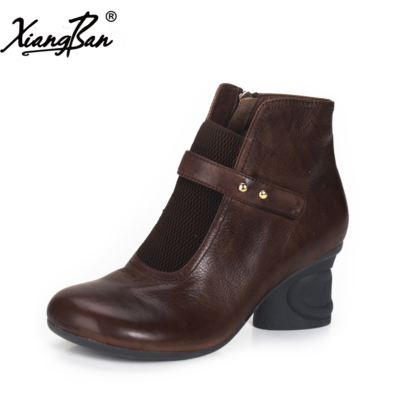 Xiangban Women leather boots round toe handmade women ankle boots comfortable thick heel autumn shoes 2017 xiangban women ankle boots handmade genuine leather woman short boots spring autumn round toe female footwear