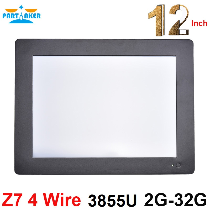 Partaker Z7 Intel Celeron 3855U 12.1 Inch OEM All In One PC With 2mm Slim Panel 3*COM 2G RAM 32G SSD Resistive Touch Screen
