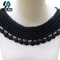 La nueva mano de algodón soluble en agua negro de fibra de alta collar de perlas-collar de la ropa bordada a mano de gama de moda accessor