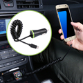 Dual Outputs Micro Auto Universal Spring Cable and Single Micro USB Car Charger Adapters For Smart Phone Support Android Devices