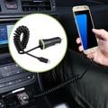 Salidas duales auto micro universal cable de primavera y solo micro usb adaptadores de cargador de coche para el teléfono inteligente soporte de dispositivos android