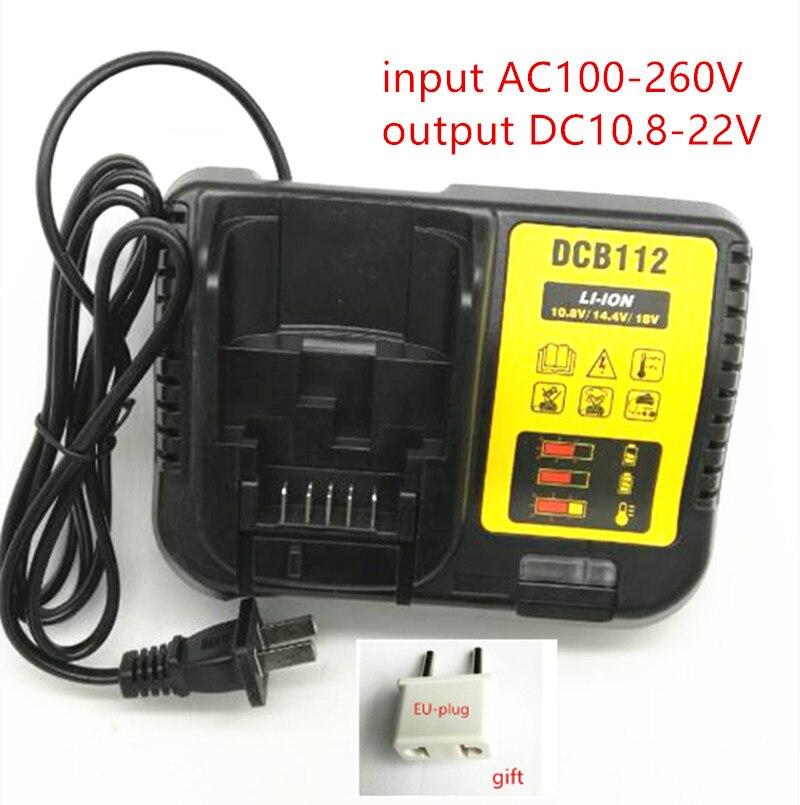 AC100-260V Li-Ion Battery Charger DCB112 for Dewalt 10.8V 12V 14.4V 18V 20V DCB105 DCB101 DCB101 DCB200 DCB140 14 4v c 4000mah power tool battery for dewalt dcb140 xj dcb140 dcd735l2 dcf835c2 dcf835l2 dcl030 xr dcd936l2