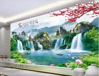 3d room wallpaper High-end custom mural non-woven wall sticker 3 d Large Chinese lakes waterfalls 3d wall murals wallpaper