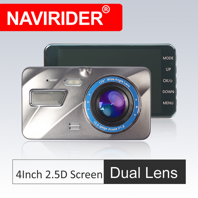 Silvery Dash Camera 4inch 2.5D Curve Screen Full HD 1080P  CAR DVR Dual Lens with reverse camera Video Recorder 170 degree angle