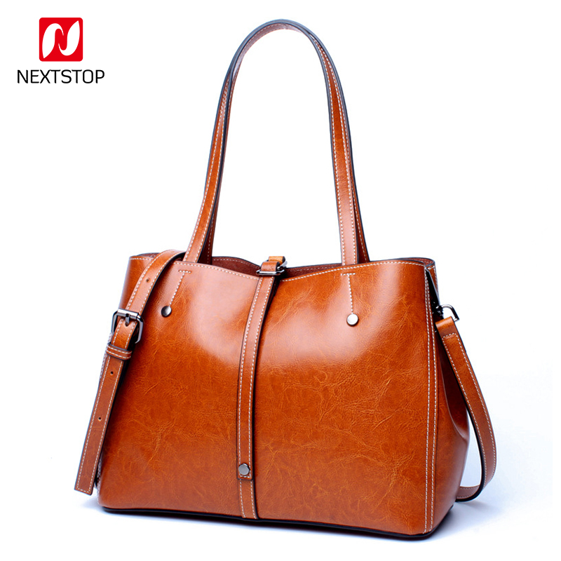 NEXTSTOP Fashion design shopping style handbags ladies Genuine leather woman tote bag Soft large capacity Crossbody bag M1006