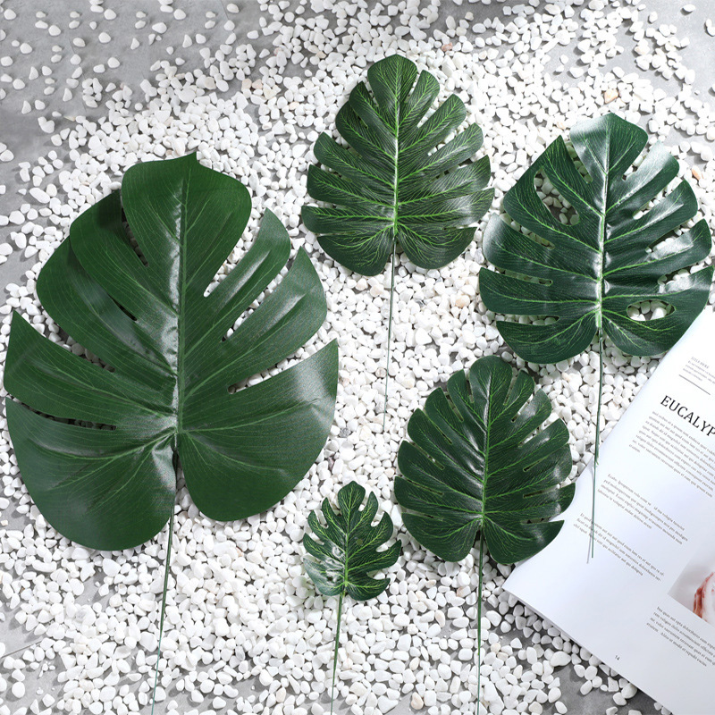 1pcs Artificial Tropical Leaves Gold Leaves Decor Hawaii Theme Party Table Decor Summer Party Decor Ballon Deco Photo Props