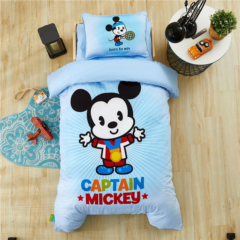 Image 2 - Disney Cartoon Minnie Mickey Bedding Set for Baby Crib Bed 3Pcs Duvet Cover Bedsheet Pillowcases for Baby Boys Girls 0.6m Bed-in Bedding Sets from Mother & Kids