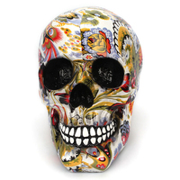 Color Flower Paint Craft Table Decoration Horror Resin Skull Skeleton Sculpture Statue Model Decoration Halloween Gift Art