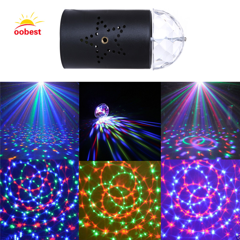 oobest IR Remote RGB LED Crystal Magic Rotating Ball Stage Light 3W Voice Control RGB DJ light disco light Party Effect Light