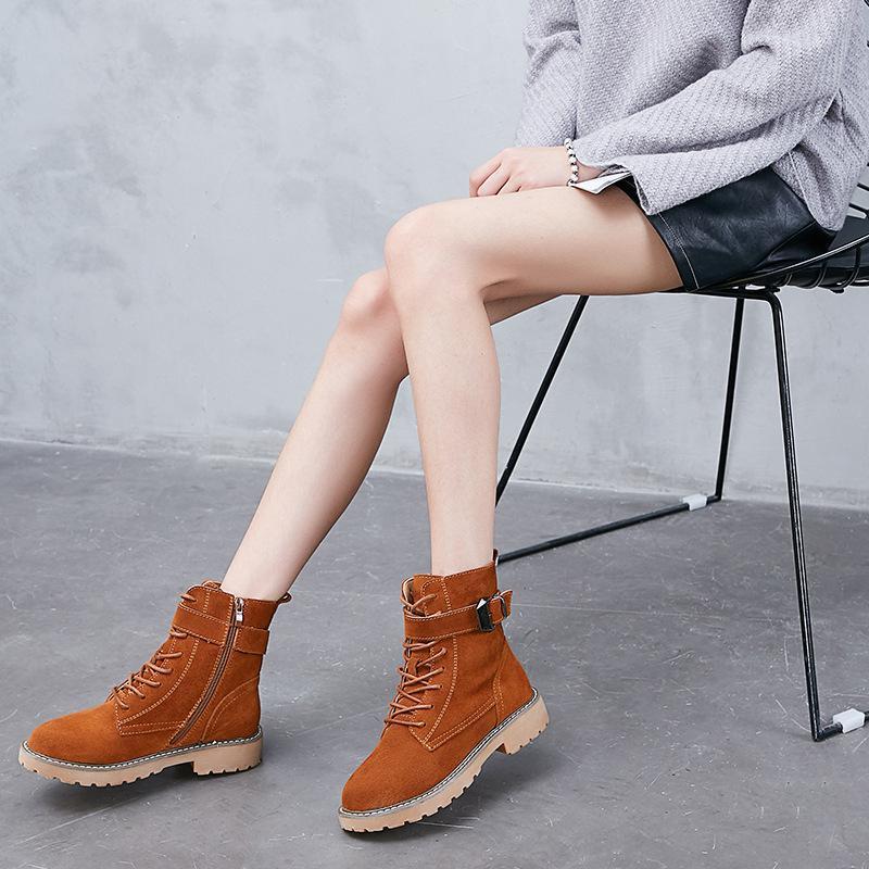 Bottes orange Style Winter9 21 Noir 2018 Rétro Flanelle Britannique Martin Femmes tshCxdQr