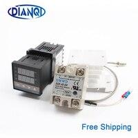 REX-C100 Цифровой ПИД контроллер температуры Термостат SSR выход Max40A SSR реле K термопары зонд RexC-100 110В ~ 240В