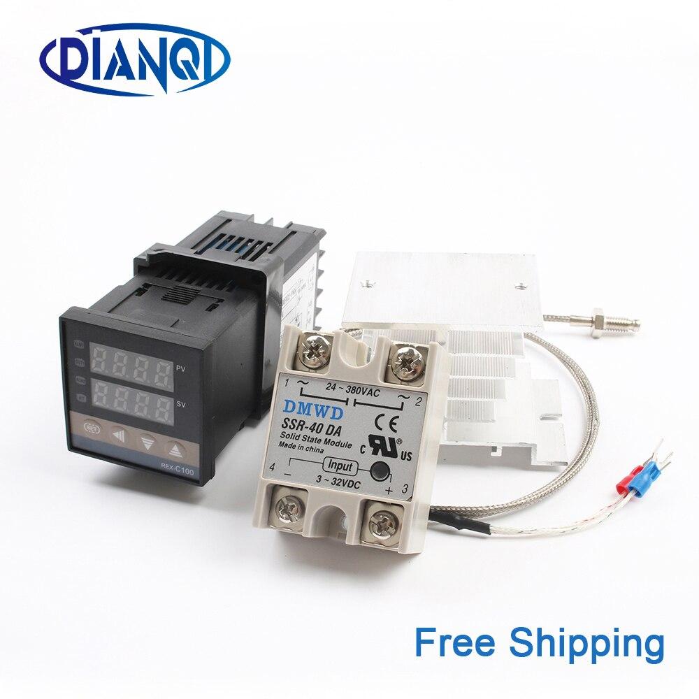 REX-C100 Digital PID Temperatur Controller Thermostat SSR ausgang Max40A SSR Relais K Thermoelement Sonde RexC-100 110V ~ 240V