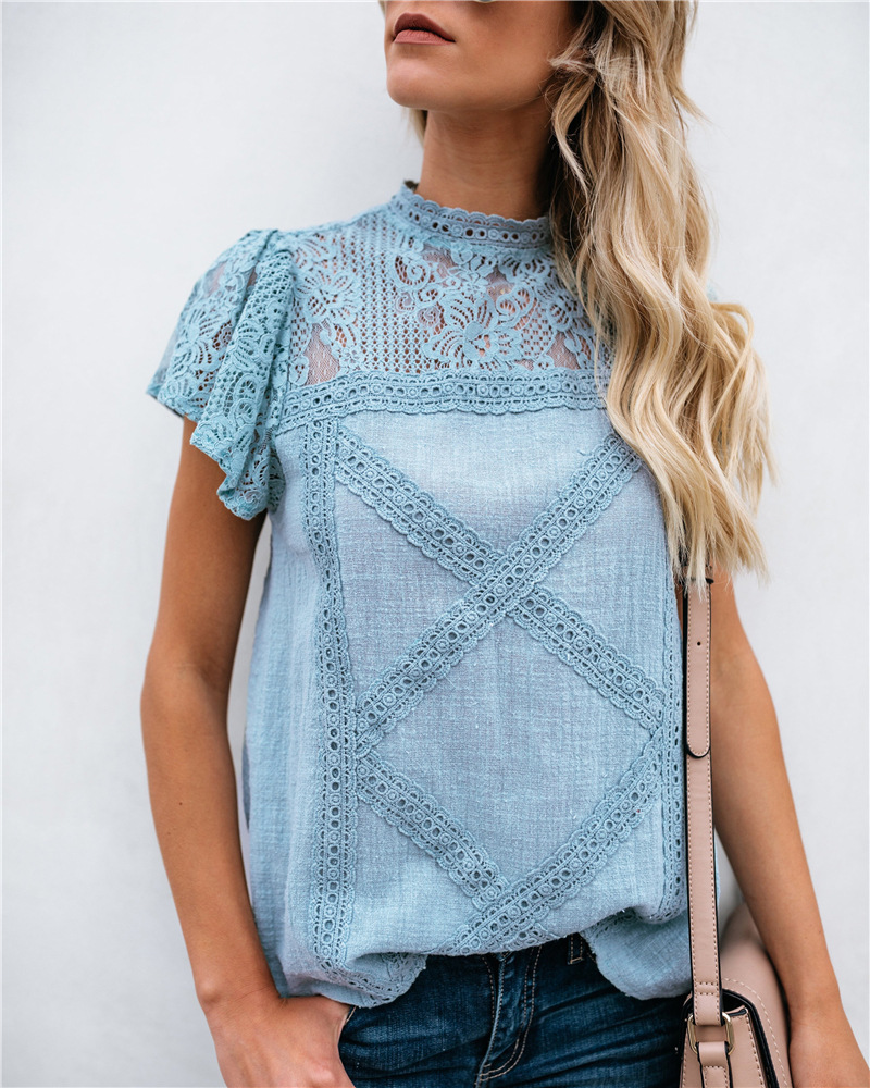 2019 Summer Chiffon Tops Women   Blouses   Ruffles Plus Sizes Befree Boho Floral Elegant Lady Sexy Lace Casual Embellished   Shirts