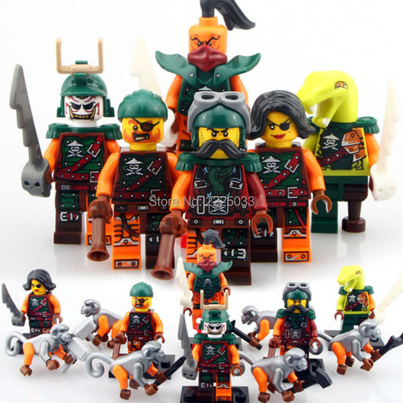 Compatible LegoINGlys NinjagoINGlys Figures Nadakhan Clancee Bukco Cyren Pirates Monkey Building Bricks Block ENLIGHTEN Gift free shipping plate 4x6 diy enlighten block bricks compatible with assembles particles