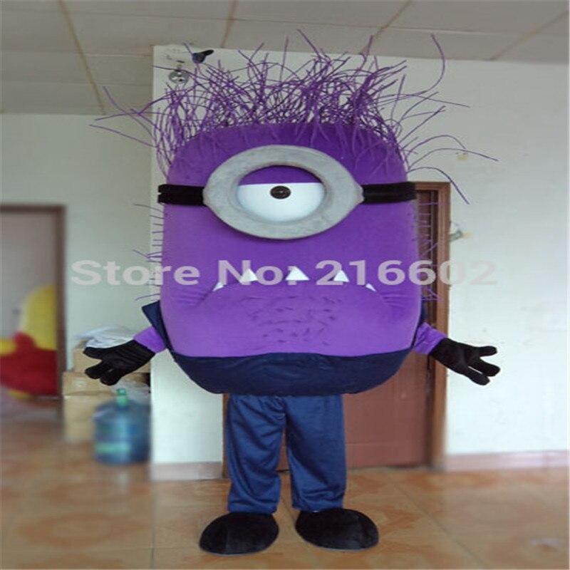 Hot Sale 2014 Adult Lovely Professional Purple Minion Mascot Costume Fancy Dress Cartoon Party Costume