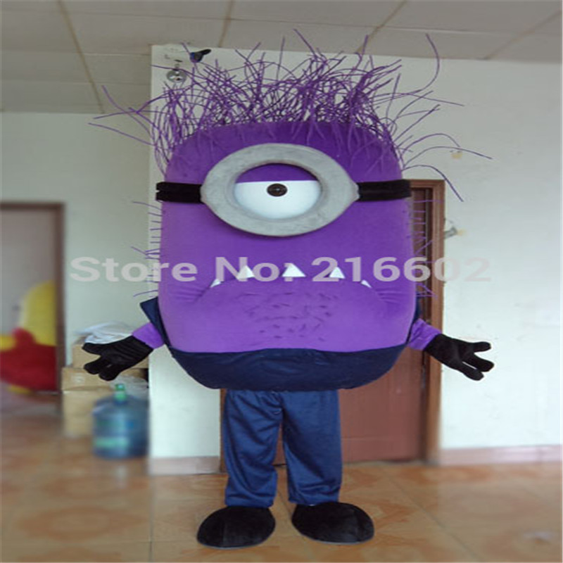 Hot sale 2017 adult lovely professional purple minion mascot costume fancy dress cartoon party costume