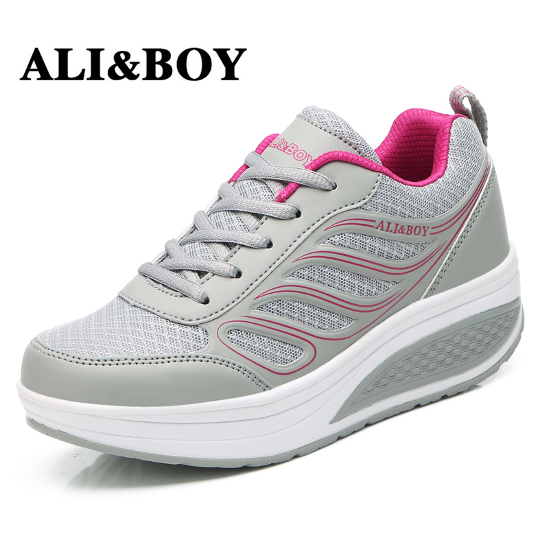 ALI&BOY Slimming Lady Lose Weight 5 cm Platform Wedge Sneakers Women Summer Breathable Mesh Sports Female Fitness Swing Shoes cute strawberry women platform shoes summer mesh body shaping slimming flats fitness lady swing shoes health nurse work sneakers
