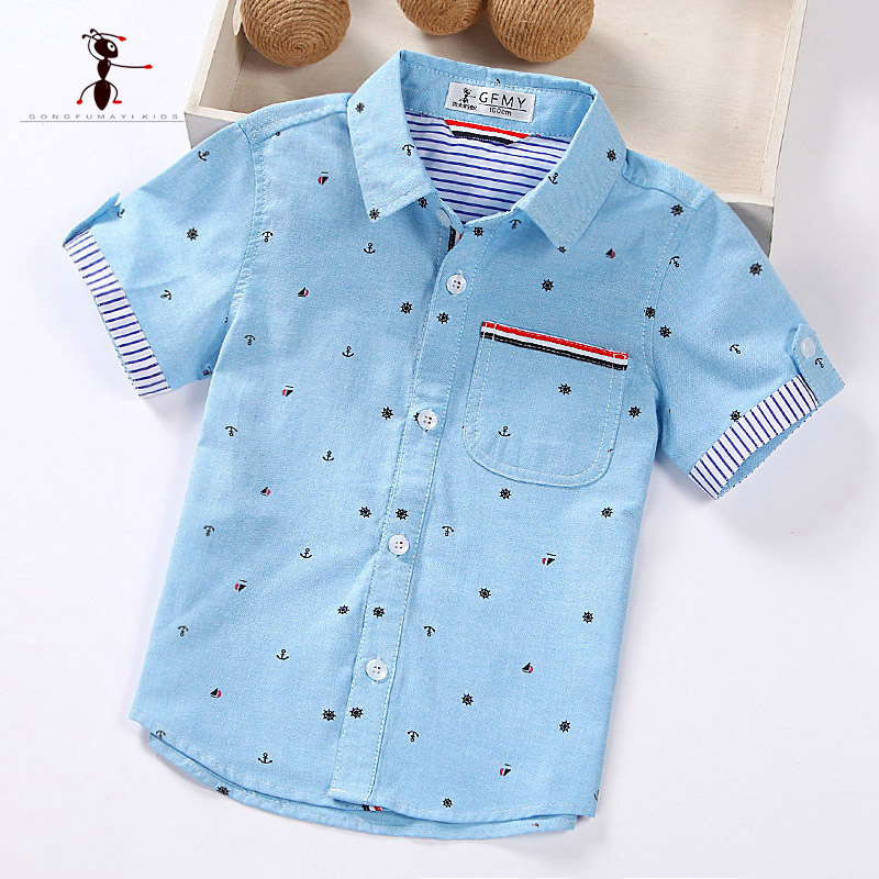 Summer Short Sleeve Boy's Shirts Casual Turn-down Collar Camisa Masculina Blouses for Children Kids Clothes 1461 недорго, оригинальная цена
