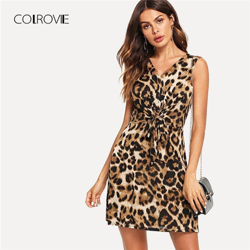 Сексуальное летнее платье COLROVIE с леопардовым принтом спереди и v-образным вырезом, 2018 осеннее мини-платье без рукавов, женские платья
