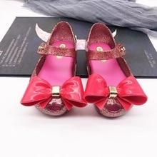 Mini Melissa Glitter Cute Bow Girls Jelly Sandals New Children Shoes Non-slip Beach High Quality