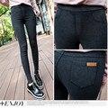Новые популярные весной осенняя мода омывается джинсовой карандаш брюки тонкие тонкие стройные женщины ягодицы узкие брюки ковбой femjean