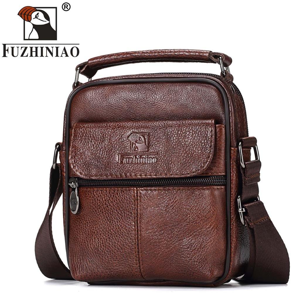 FUZHINIAO Genuine Leather Men Messenger Bag Hot Sale Male Small Man Fashion Crossbody Shoulder Bags Men's Travel New Handbags