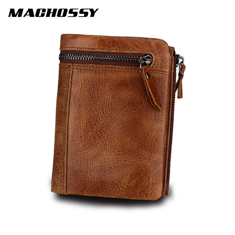 New Design Genuine Leather Men Wallets Coin Pocket Zipper Real Leather Wallet With Coin Purse High Quality Male Purse Cartera