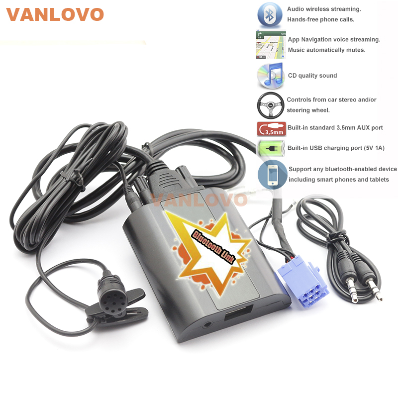 Bluetooth Link Car Kit With Aux-in Interface for Renault Clio Megane Scenic Laguna Twingo Escape Kangoo Tuner List Update List bluetooth link car kit with aux in interface for toyota corolla camry avensis hiace highlander mr2 prius rav4 sienna yairs venza