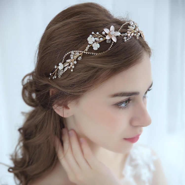 af2bd7ce2fb1a Vogue Bridal Headbands Enchanted Floral Crystal Wedding Hair Vine  Rhinestone Chain Women Anniversary Headpiece