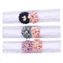 M MISM New Arrival Lovely Flower Hair Band Princess Double Colors Lace Headband For Girls Elastic Accessories