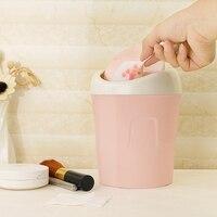 Mini Plastic Waste Bin Desktop Garbage Basket Table Kitchen Living Room Trash Can Home Trash Can Green/Pink/Blue Color