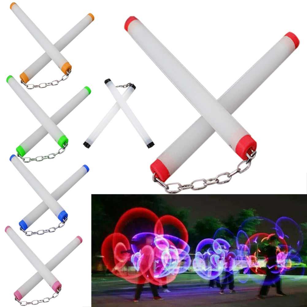 LED Light Nunchakus Glowing Fluorescent Performance Kongfu Nunchaku Sticks Light Up Toys NSV775