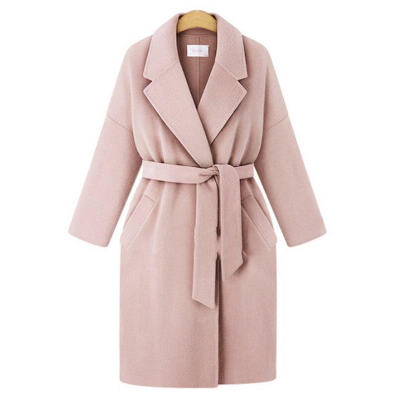 Winter 2019 European Style Plus Size 4XL Women Basic Jackets Wool Blends Female Outerwear Loose Belt