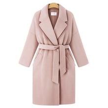 Winter 2018 European Style Plus Size 4XL Women Basic Jackets Wool&Blends Female Outerwear Loose Belt Long Ladies Street Coats