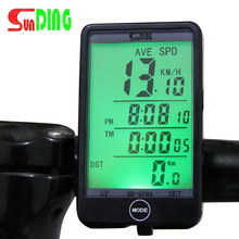 Sunding SD576A Waterproof Auto Bike Computer Light Mode Touch Wired Bicycle Computer Cycling Speedometer with LCD Backlight new style sunding 2019 sd 563b waterproof lcd display cycling bike bicycle computer odometer speedometer with green backlight