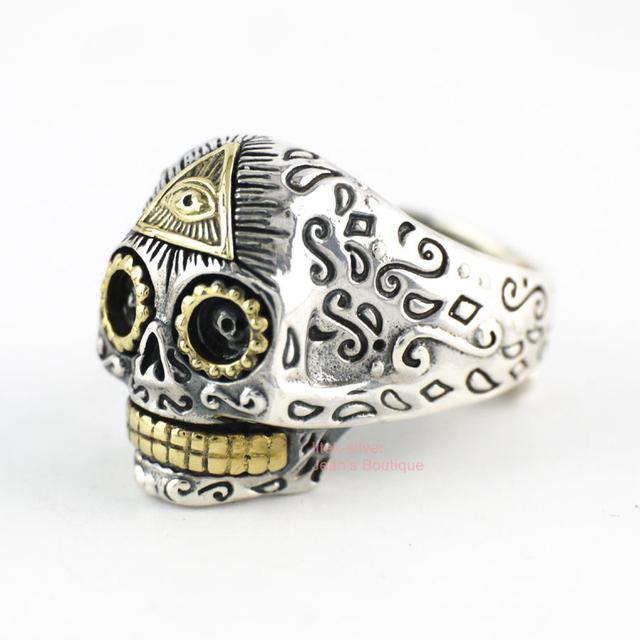 925 Solid Sterling Silver Biker Rocker Punk Sugar Skull Skeleton size 6.5~ 10 Adjustable Ring Men A3713
