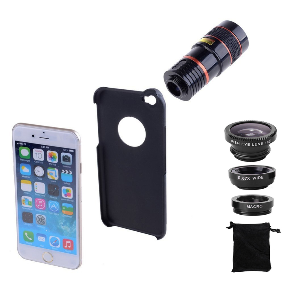 5in1 8X <font><b>Zoom</b></font> Telescope Lens Fisheye Wide Angle Macro Lens Camera Lenses Clips Phone Case For <font><b>Samsung</b></font> S3 S4 <font><b>S5</b></font> S6 S7 edge Plus image