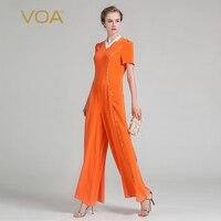 Voa Лето 2017 г. тяжелый шелк богемный Для женщин Комбинезоны для женщин Мода весна новый плюс Размеры Повседневное тонкий оранжевый брюк klh00901