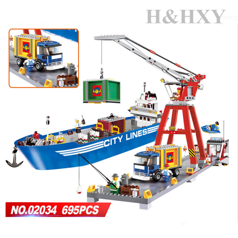 IN STOCK H&HXY 02034 695pcs City Series Super Cargo Port Terminal Lepin Building Block Compatible 7994 Brick Toy Boy gifts ynynoo lepin 02043 stucke city series airport terminal modell bausteine set ziegel spielzeug fur kinder geschenk junge spielzeug